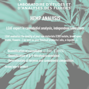 Analyses produits du chanvre - Hemp Analysis - Cannabis - Biomasse -