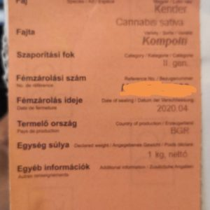 Seeds certified by the European union variety kompolti sacks of 1kg - Cannabis - Graines - Hongrie